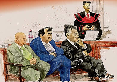 Oliver Schopf, editorial cartoons, court room art: The Bawag Trial in Vienna