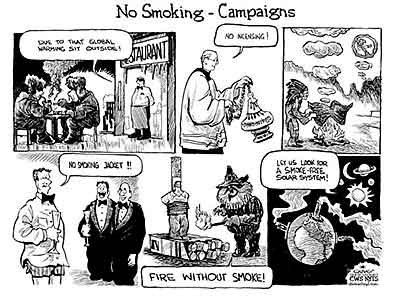 Oliver Schopf, politischer cartoonist austria, editorial cartoons 2009: no smoking campaigns exhibition karikaturmuseum, krems, tobacco in cartoons