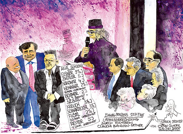 Oliver Schopf, editorial cartoons from Austria, cartoonist from Austria, Austrian illustrations, illustrator from Austria, editorial cartoon court room art the BAWAG-bank-trial 2007 - 2008. Most important bank and economy trial in Austria's Second Republik. 9 defendents among 2 CEO and one international investment banker.