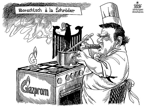 Oliver Schopf, editorial cartoons from Austria, cartoonist from Austria, Austrian illustrations, illustrator from Austria, editorial cartoon Europe Miscellaneous gazprom russia germany schroeder kooking