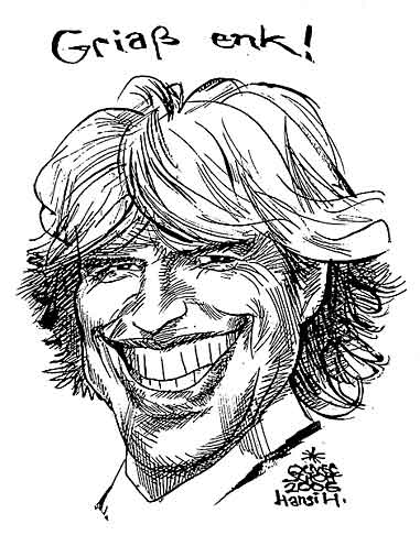 Oliver Schopf, editorial cartoons from Austria, cartoonist from Austria, Austrian illustrations, illustrator from Austria, editorial cartoon portraits sports: hansi hinterseer, drawing, portrait, alpine skier, giant slalom, world cup, singer, entertainer, romantic and heimat genre