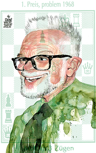 Oliver Schopf, editorial cartoons from Austria, cartoonist from Austria, Austrian illustrations, illustrator from Austria, editorial cartoon chess problem composers: Friedrich Chlubna, outstanding Austrian composer of chess problems.
