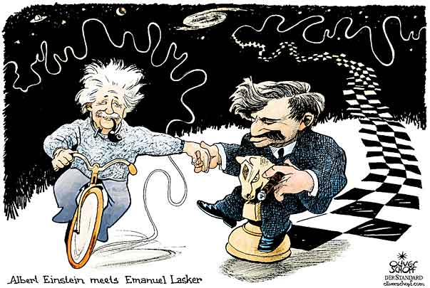 Oliver Schopf, editorial cartoons from Austria, cartoonist from Austria, Austrian illustrations, illustrator from Austria, editorial cartoon chess worldchampions, Grandmasters and Masters: emanuel lasker, albert einstein, chess, friendschip,  universe, bicycle, riding