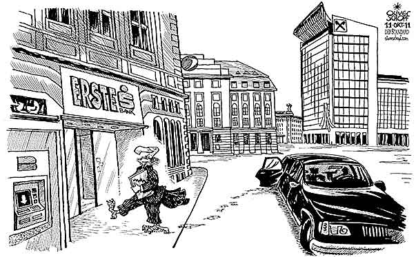 Oliver Schopf, editorial cartoons from Austria, cartoonist from Austria, Austrian illustrations, illustrator from Austria, editorial cartoon politics politician Austria 2011 bank eastern europe bailout vulture rest bank bank austria unicredit raiffeisen