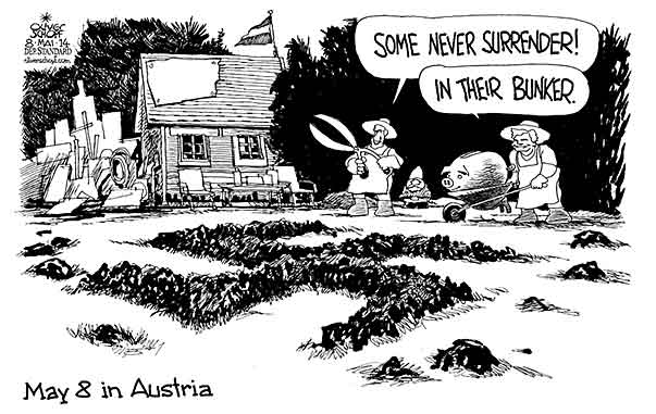 Oliver Schopf, editorial cartoons from Austria, cartoonist from Austria, Austrian illustrations, illustrator from Austria, editorial cartoon politics politician Austria 2014 WORLD WAR II MAY 8 1945 CAPITULATION SURRENDER ALLOTMENT GARDEN FAYMANN SPINDELEGGER GARDENER MOLE HILL SWASTIKA