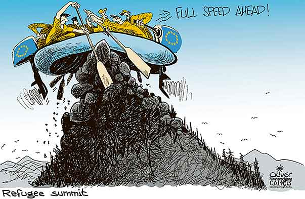 Oliver Schopf, editorial cartoons from Austria, cartoonist from Austria, Austrian illustrations, illustrator from Austria, editorial cartoon politics politician Europe, Cartoon Arts International, New York Times Syndicate, Cagle cartoon 2017 : EU REFUGEE MIGRATION SUMMIT PEAK MOUNTAIN STRAND RUBBER DINGHY ROW SPEED AHEAD