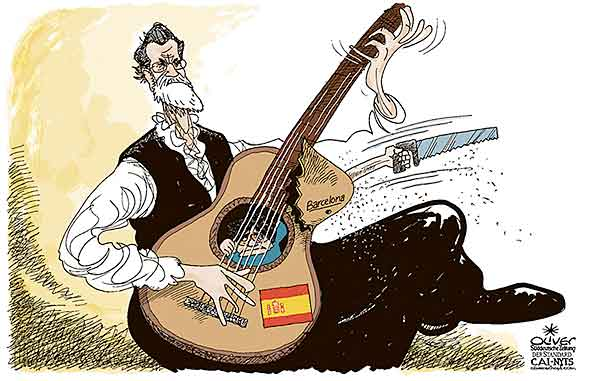 Oliver Schopf, editorial cartoons from Austria, cartoonist from Austria, Austrian illustrations, illustrator from Austria, editorial cartoon politics politician Europe, Cartoon Arts International, New York Times Syndicate, Cagle cartoon 2017 : SPAIN RAJOY CATALONIA PUIGDEMONT SEPARATISM INDEPENDENCE GUITAR SAW FLIGHT IMPRISON