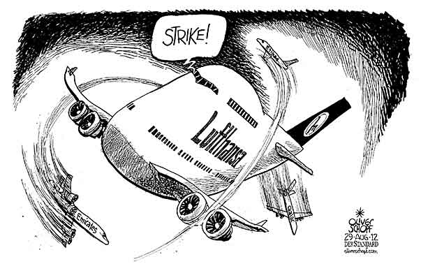 Oliver Schopf, editorial cartoons from Austria, cartoonist from Austria, Austrian illustrations, illustrator from Austria, editorial cartoon politics politician Germany, Cartoon Arts International, New York Times Syndicate, Cagle cartoon 2012 LUFTHANSA AIRLINE JUMBO JET STRIKE EMIRATES QATAR ETIHAD       2010.