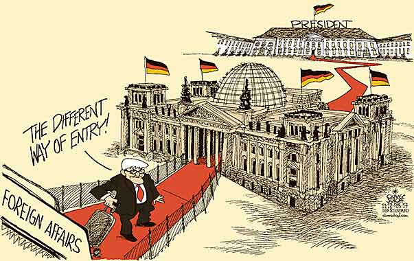 Oliver Schopf, editorial cartoons from Austria, cartoonist from Austria, Austrian illustrations, illustrator from Austria, editorial cartoon politics politician Germany, Cartoon Arts International, New York Times Syndicate, Cagle cartoon 2017  FRANK WALTER STEINMEIER PRESIDENT ELECTIONS BUNDESTAG BERLIN SCHLOSS BELLEVUE FOREIGN AFFAIRS ENTRY RED CARPET ARRIVAL