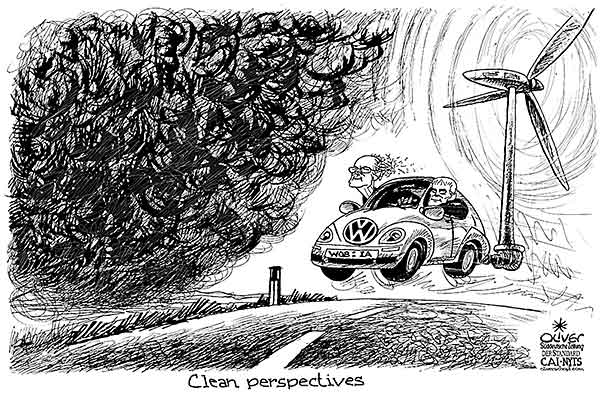 Oliver Schopf, editorial cartoons from Austria, cartoonist from Austria, Austrian illustrations, illustrator from Austria, editorial cartoon politics politician Germany, Cartoon Arts International, New York Times Syndicate, Cagle cartoon 2015: VOLKSWAGEN EMISSIONS FRAUD CHAIRMAN PÖTSCH MÜLLER FUTURE STRATEGY WIND WHEEL CLEAN RENEWABLE ENERGY