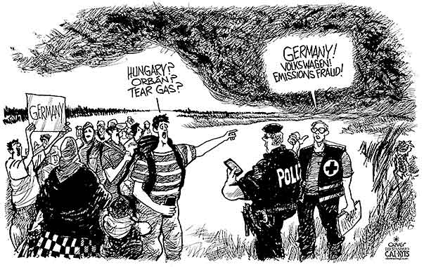 Oliver Schopf, editorial cartoons from Austria, cartoonist from Austria, Austrian illustrations, illustrator from Austria, editorial cartoon politics politician Germany, Cartoon Arts International, New York Times Syndicate, Cagle cartoon 2015: VOLKSWAGEN CARS EMISSIONS FRAUD CHEATING REFUGEES IMMIGRANTS HUNGARY ORBÁN TEAR GAS CLOUDS