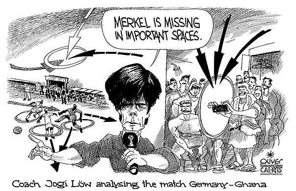 Oliver Schopf, editorial cartoons from Austria, cartoonist from Austria, Austrian illustrations, illustrator from Austria, editorial cartoon politics politician Germany, Cartoon Arts International, New York Times Syndicate, Cagle cartoon 2014: BRAZIL WOLRD CUP SOCCER FOOTBALL GERMANY GHANA COACH LOEW ANALYSIS MERKEL SPACE COMMENTARY