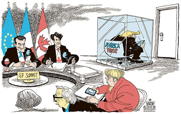 Oliver Schopf, editorial cartoons from Austria, cartoonist from Austria, Austrian illustrations, illustrator from Austria, editorial cartoon politics politician International, Cartoon Arts International, New York Times Syndicate, 2018: USA PRESIDENT DONALD TRUMP WORLD EARTH G7 SUMMIT CANADA TRUMP TWEET TRUDEAU MERKEL JUNCKER MAY MACRON ROUND TABLE NEGOTIATIONS TALKS ATMOSPHERE GLASS
