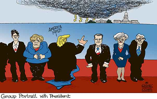 Oliver Schopf, editorial cartoons from Austria, cartoonist from Austria, Austrian illustrations, illustrator from Austria, editorial cartoon politics politician International, Cartoon Arts International, New York Times Syndicate, 2017: G7 SUMMIT ITALY TAORMINA GROUP PORTRAIT TRUMP BACK AMERICA FIRST MERKEL MAY MACRON TRUDEAU JUNCKER