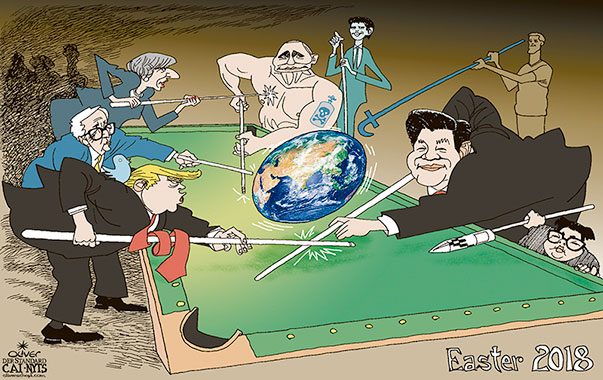 Oliver Schopf, editorial cartoons from Austria, cartoonist from Austria, Austrian illustrations, illustrator from Austria, editorial cartoon politics politician International, Cartoon Arts International, New York Times Syndicate, 2018: WORLD POLITICS EASTER EGG PLANET EARTH BILLARD TRUMP XI JINPING KIM JONG UN JUNCKER PUTIN THERESA MAY ZUCKERBERG SEBASTIAN KURZ