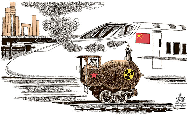 Oliver Schopf, editorial cartoons from Austria, cartoonist from Austria, Austrian illustrations, illustrator from Austria, editorial cartoon politics politician International, Cartoon Arts International, New York Times Syndicate, 2018: NORTH KOREA KIM JONG-UN TRAIN VISIT CHINA NUCLEAR BOMB NUKE STATION HIGH SPEED TRAIN