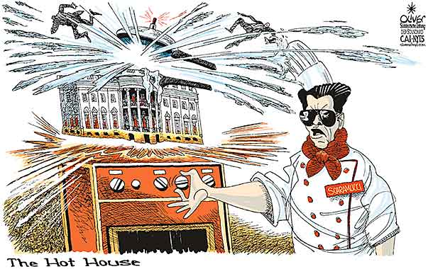 Oliver Schopf, editorial cartoons from Austria, cartoonist from Austria, Austrian illustrations, illustrator from Austria, editorial cartoon politics politician International, Cartoon Arts International, New York Times Syndicate, 2017: USA WHITE HOUSE SCARAMUCCI SPEAKER COOKING POT PRESSURE COOK EXPLOSION COOKER STOVE HOT