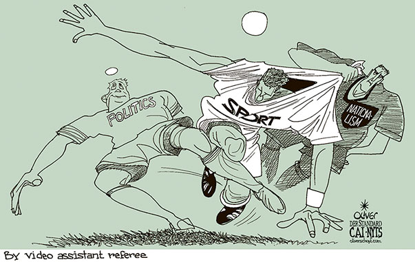 Oliver Schopf, editorial cartoons from Austria, cartoonist from Austria, Austrian illustrations, illustrator from Austria, editorial cartoon politics politician International, Cartoon Arts International, New York Times Syndicate, 2018: SPORT SOCCER WORLD CUP RUSSIA POLITICS NATIONALISM FOUL VIDEO ASSISTANT REFEREE