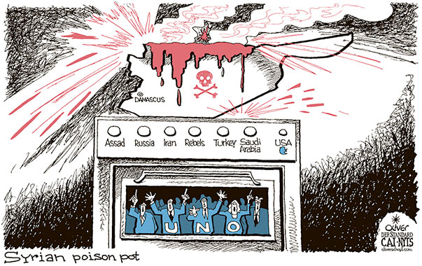 Oliver Schopf, editorial cartoons from Austria, cartoonist from Austria, Austrian illustrations, illustrator from Austria, editorial cartoon politics politician International, Cartoon Arts International, New York Times Syndicate, 2018: SYRIA POISON POT COOKING CHEMICAL WEAPONS ASSAD RUSSIA IRAN USA TRUMP TWITTER UNO