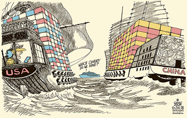 Oliver Schopf, editorial cartoons from Austria, cartoonist from Austria, Austrian illustrations, illustrator from Austria, editorial cartoon politics politician International, Cartoon Arts International, New York Times Syndicate, 2018: TRADE WAR USA CHINA TRUMP TARIFFS CONTAINER SHIP VESSEL FRIGATE  SEA BATTLE CENTURY
