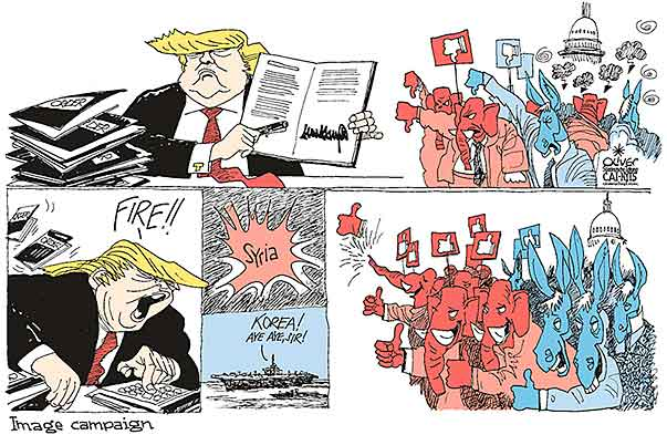 Oliver Schopf, editorial cartoons from Austria, cartoonist from Austria, Austrian illustrations, illustrator from Austria, editorial cartoon politics politician International, Cartoon Arts International, New York Times Syndicate, 2017: USA TRUMP SYRIA NORTH KOREA CHEMICAL WEAPONS MISSILE LAUNCH EXECUTIVE ORDER GOP DEMS YOU ARE FIRED IMAGE CAMPAIGN