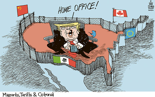 Oliver Schopf, editorial cartoons from Austria, cartoonist from Austria, Austrian illustrations, illustrator from Austria, editorial cartoon politics politician International, Politico, Cartoon Arts International, 2020 : USA TRUMP AMERICA FIRST WALL BORDER CORONAVIRUS HOME OFFICE CHINA MEXICO CANADA MIGRANTS TARIFFS COVID 19