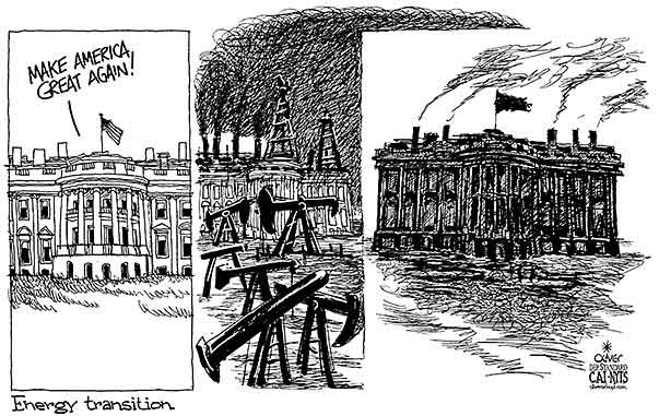 Oliver Schopf, editorial cartoons from Austria, cartoonist from Austria, Austrian illustrations, illustrator from Austria, editorial cartoon politics politician International, Cartoon Arts International, New York Times Syndicate, 2017: USA TRUMP WHITE HOUSE ENERGY TRANSITION OIL GAS COAL SOOTCARBON SMOKE EMISSIONS