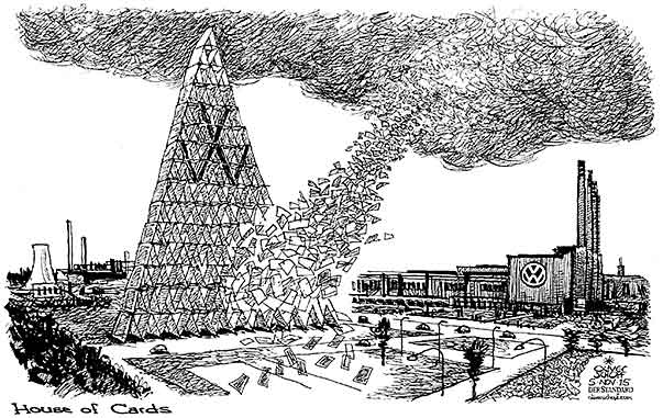 Oliver Schopf, editorial cartoons from Austria, cartoonist from Austria, Austrian illustrations, illustrator from Austria, editorial cartoon politics politician Germany, Cartoon Arts International, New York Times Syndicate, Cagle cartoon 2015: VOLKSWAGEN CARS EMISSIONS CO2 HOUSE OF CARDS WOLFSBURG MANIPULATION