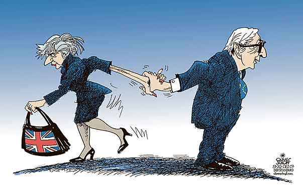 Oliver Schopf, editorial cartoons from Austria, cartoonist from Austria, Austrian illustrations, illustrator from Austria, editorial cartoon politics politician Europe, Cartoon Arts International, New York Times Syndicate, Cagle cartoon 2017 : EU GREAT BRITAIN BREXIT THERESA MAY JEAN-CLAUDE JUNCKER HAND SHAKE AGREEMENT DEAL