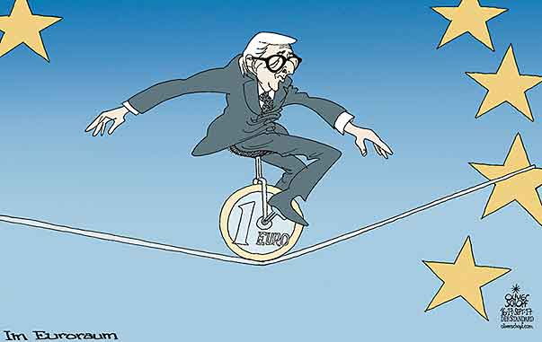 Oliver Schopf, editorial cartoons from Austria, cartoonist from Austria, Austrian illustrations, illustrator from Austria, editorial cartoon politics politician Europe, Cartoon Arts International, New York Times Syndicate, Cagle cartoon 2017 : EU EURO ZONE JEAN CLAUDE JUNCKER UNICYCLE TIGHTROPE WALKING ACROBATIC