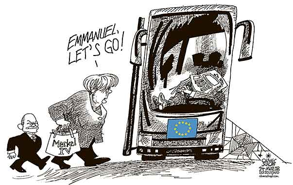 Oliver Schopf, editorial cartoons from Austria, cartoonist from Austria, Austrian illustrations, illustrator from Austria, editorial cartoon politics politician Europe, Cartoon Arts International, New York Times Syndicate, Cagle cartoon 2018 : EU MERKEL GOVERNMENT CABINET IV OLAF SCHOLZ BUS MACRON JOURNEY TRIP