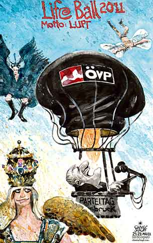 Oliver Schopf, editorial cartoons from Austria, cartoonist from Austria, Austrian illustrations, illustrator from Austria, editorial cartoon politics politician Austria 2011: life ball 2011 vienna air wings flying hot-air balloon