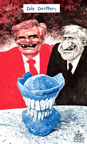 Oliver Schopf, editorial cartoons from Austria, cartoonist from Austria, Austrian illustrations, illustrator from Austria, editorial cartoon politics politician Austria 2011 faymann spindelegger strache  government freedom party teeth plate prosthesis