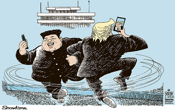 Oliver Schopf, politischer Karikaturist aus Österreich, politische Karikaturen aus Österreich, Karikatur Cartoon Illustrationen Politik Politiker international 2019  TRUMP KIM TREFFEN GRENZE NORDKOREA PANMUNJEOM TANZ SHOW SHOWTIME SELFIE