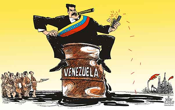 Oliver Schopf, editorial cartoons from Austria, cartoonist from Austria, Austrian illustrations, illustrator from Austria, editorial cartoon politics politician International, Cartoon Arts International, New York Times Syndicate, 2017: VENEZUELA MADURO DICTATORSHIP OIL BARREL CIGAR FIRE SPARK HUNGRY PEOPLE